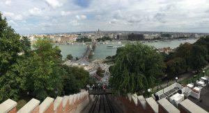 Vistas desde el funicular Budavári Sikló en Budapest
